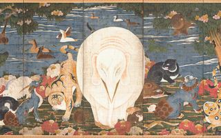 伊藤若冲 樹花鳥獣図屏風(右隻)版