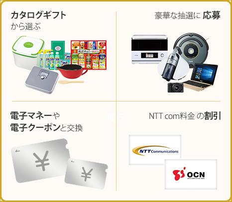 カタログギフトから選ぶ 豪華な抽選に応募 電子マネーや電子クーポンと交換 NTTcom料金の割引